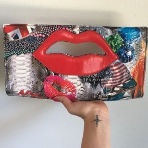 💋 Pop Art Deco OOAK Arty Kiss Clutch